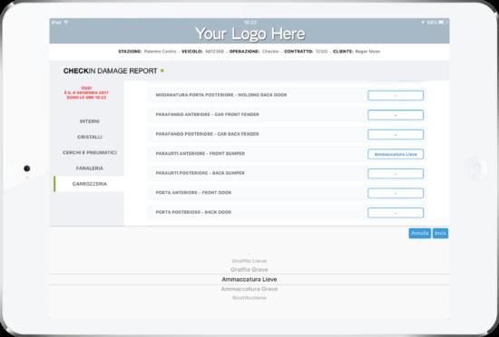 Car Rental Checklist Software App by My Appy Addebito Tabellare